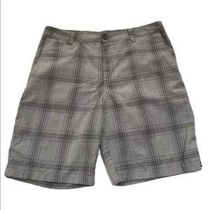 Quiksilver Shorts Plaid Men's 36 Gray Pockets